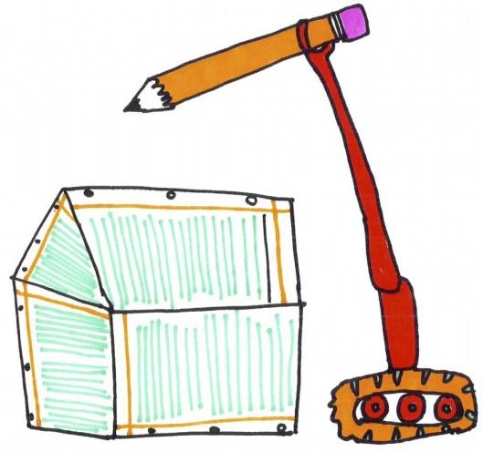 Pencil crane-paper house-2